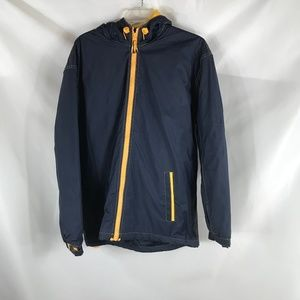 MISTY HARBOR BLUE/YELLOW SIZE M HOODED COAT